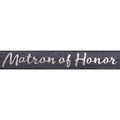 "Charcoal Gray & Silver Matron of Honor - 5/8"" Metallic Printed Fold Over Elastic"