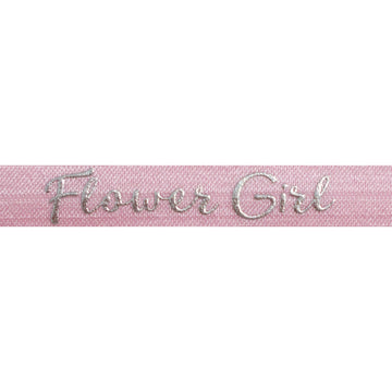 "Ballerina Pink & Silver Flower Girl - 5/8"" Metallic Printed Fold Over Elastic"