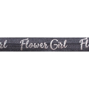 "Charcoal Gray & Silver Flower Girl - 5/8"" Metallic Printed Fold Over Elastic"