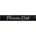 "Black & Silver Flower Girl - 5/8"" Metallic Printed Fold Over Elastic"