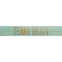 "Mint Green & Gold Team Bride - 5/8"" Metallic Printed Fold Over Elastic"