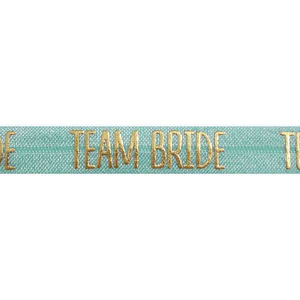 "Sea Foam & Gold Team Bride - 5/8"" Metallic Printed Fold Over Elastic"