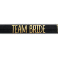 "Black & Gold Team Bride - 5/8"" Metallic Printed Fold Over Elastic"
