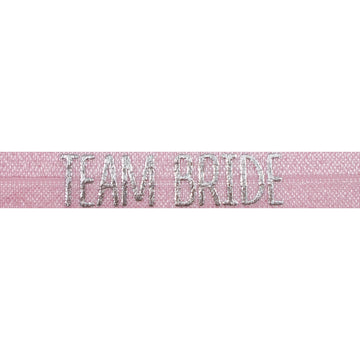 "Ballerina Pink & Silver Team Bride - 5/8"" Metallic Printed Fold Over Elastic"