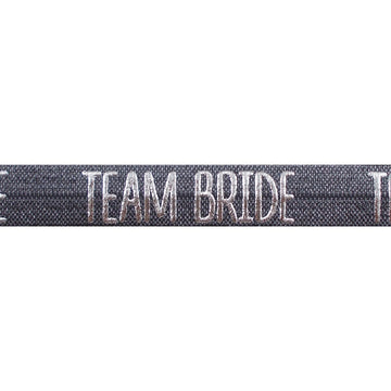 "Charcoal Gray & Silver Team Bride - 5/8"" Metallic Printed Fold Over Elastic"