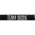 "Black & Silver Team Bride - 5/8"" Metallic Printed Fold Over Elastic"