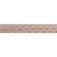 "Vintage Rose & Gold Hearts - 5/8"" Metallic Printed Fold Over Elastic"