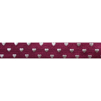 "Wine & Silver Hearts - 5/8"" Metallic Printed Fold Over Elastic"