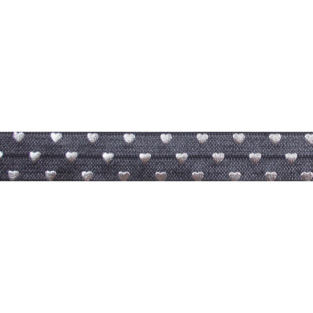 "Charcoal & Silver Hearts - 5/8"" Metallic Printed Fold Over Elastic"