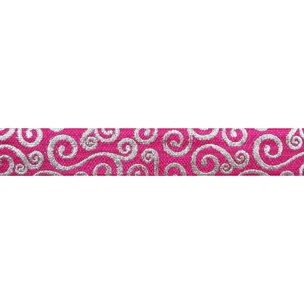 "Hot Pink & Silver Swirls - 5/8"" Metallic Printed Fold Over Elastic"