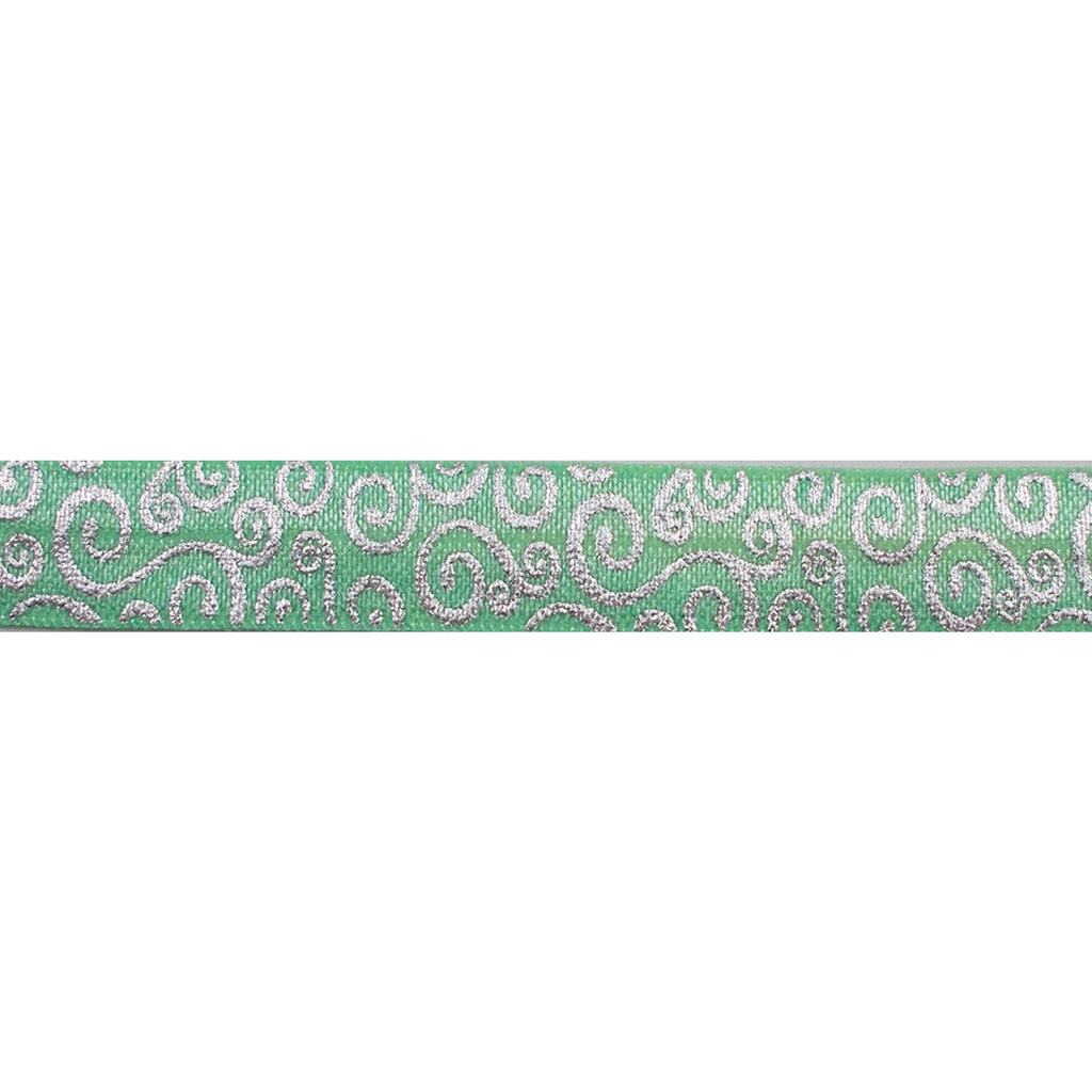 "Dark Mint Green & Silver Swirls - 5/8"" Metallic Printed Fold Over Elastic"