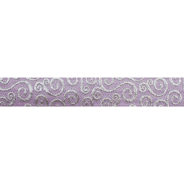 "Lavender & Silver Swirls - 5/8"" Metallic Printed Fold Over Elastic"
