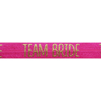 "Hot Pink & Gold Team Bride - 5/8"" Metallic Printed Fold Over Elastic"