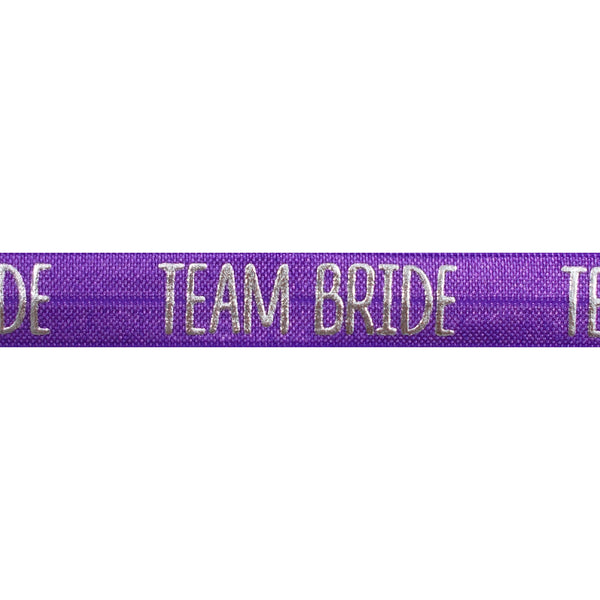 "Purple & Silver Team Bride - 5/8"" Metallic Printed Fold Over Elastic"