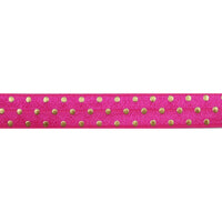 "Hot Pink & Gold Polka Dots - 5/8"" Metallic Printed Fold Over Elastic"