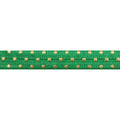 "Green & Gold Polka Dots - 5/8"" Metallic Printed Fold Over Elastic"