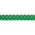 "Green & Silver Polka Dots - 5/8"" Metallic Printed Fold Over Elastic"