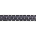 "Charcoal & Silver Polka Dots - 5/8"" Metallic Printed Fold Over Elastic"