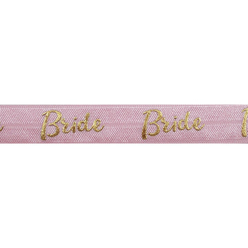 "Ballerina Pink & Gold Bride - 5/8"" Metallic Printed Fold Over Elastic"