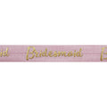 "Ballerina Pink & Gold Bridesmaid - 5/8"" Metallic Printed Fold Over Elastic"