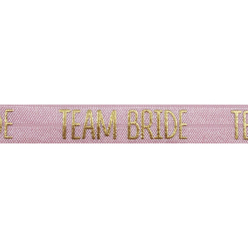 "Ballerina Pink & Gold Team Bride - 5/8"" Metallic Printed Fold Over Elastic"