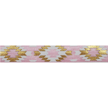 "Ballerina Pink & Gold Southwestern Aztec - 5/8"" Metallic Printed Fold Over Elastic"