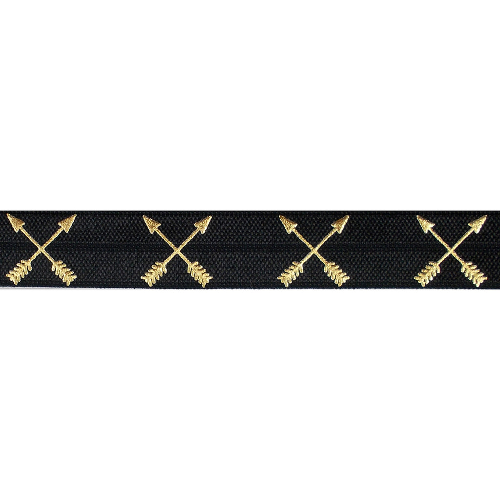"Black & Gold Arrows - 5/8"" Metallic Printed Fold Over Elastic"
