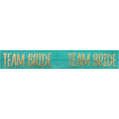 "Aquamarine & Gold Team Bride - 5/8"" Metallic Printed Fold Over Elastic"