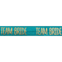 "Jade Blue & Gold Team Bride - 5/8"" Metallic Printed Fold Over Elastic"