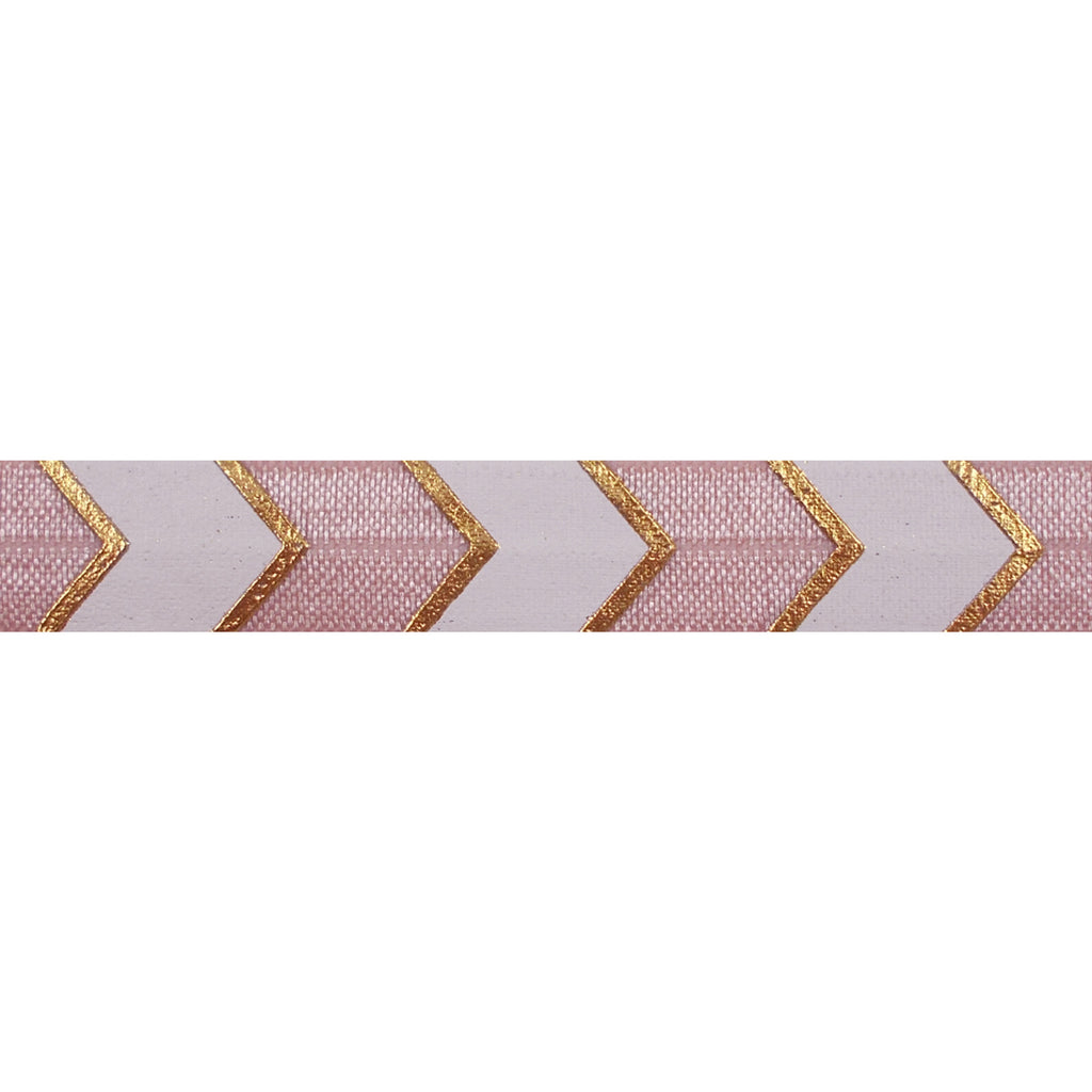 "Vintage Rose & Gold Arrow Chevron - 5/8"" Metallic Printed Fold Over Elastic"