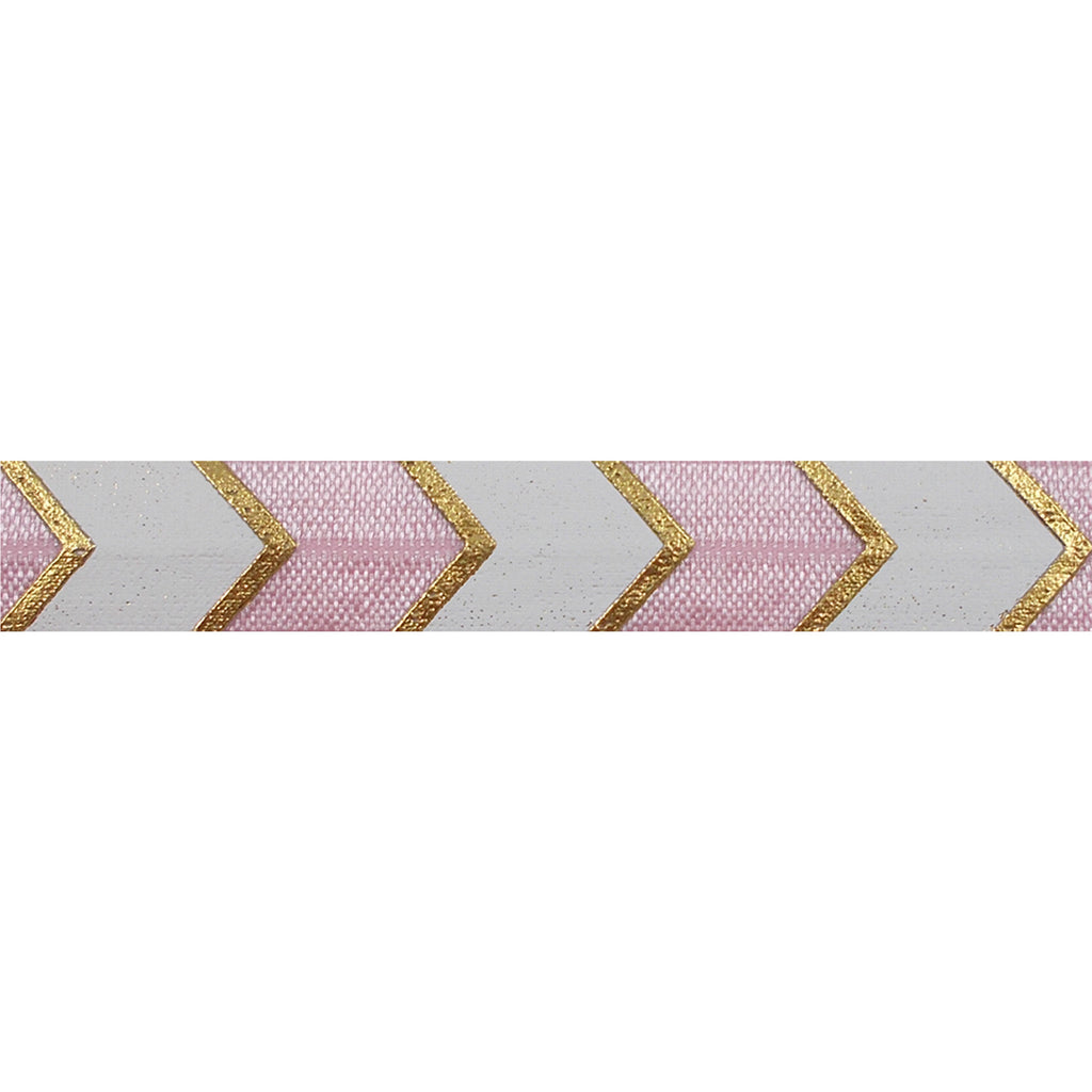 "Ballerina Pink & Gold Arrow Chevron - 5/8"" Metallic Printed Fold Over Elastic"