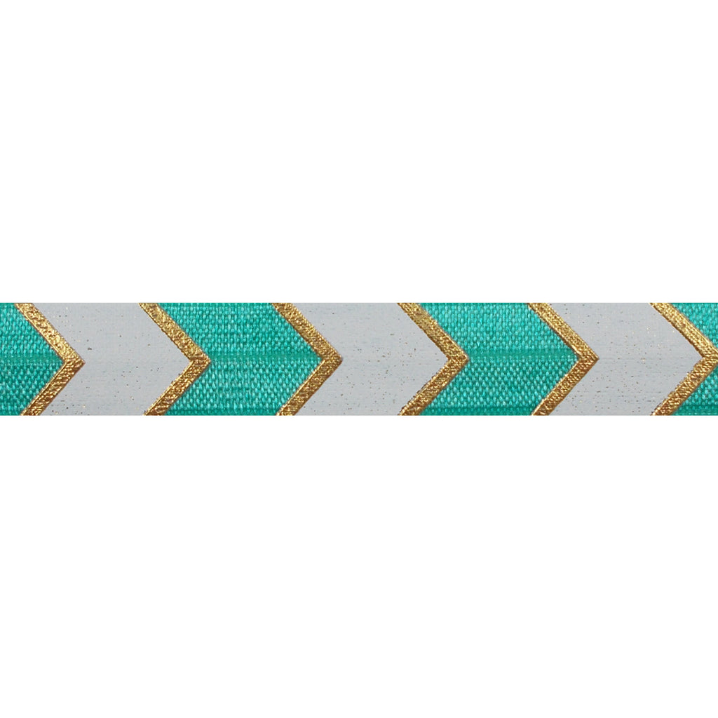 "Aquamarine & Gold Arrow Chevron - 5/8"" Metallic Printed Fold Over Elastic"