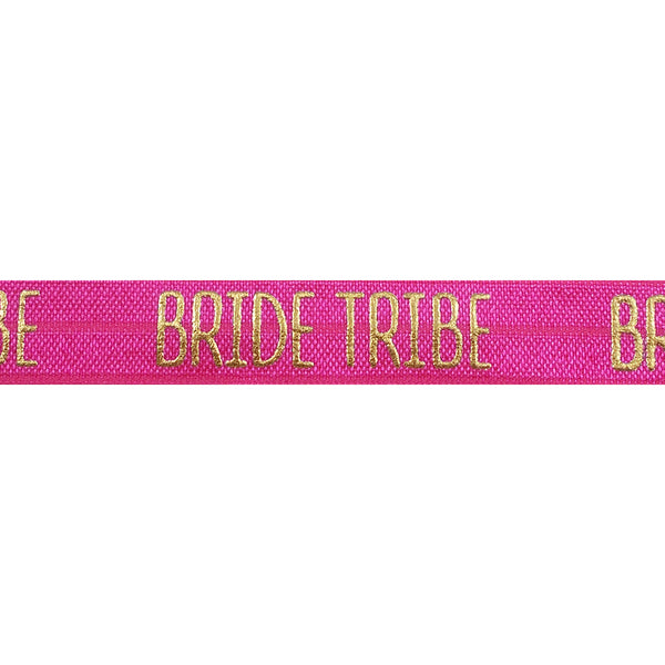 "Hot Pink & Gold Bride Tribe - 5/8"" Metallic Printed Fold Over Elastic"