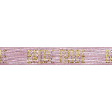 "Ballerina Pink & Gold Bride Tribe - 5/8"" Metallic Printed Fold Over Elastic"