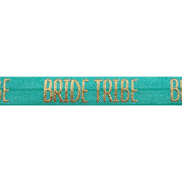 "Aquamarine & Gold Bride Tribe - 5/8"" Metallic Printed Fold Over Elastic"