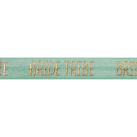 "Mint Green & Gold Bride Tribe - 5/8"" Metallic Printed Fold Over Elastic"