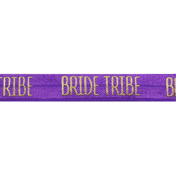 "Purple & Gold Bride Tribe - 5/8"" Metallic Printed Fold Over Elastic"