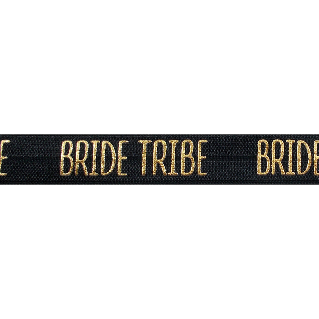 "Black & Gold Bride Tribe - 5/8"" Metallic Printed Fold Over Elastic"