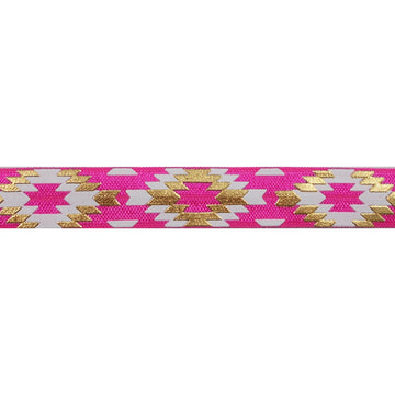 "Hot Pink & Gold Southwestern Aztec - 5/8"" Metallic Printed Fold Over Elastic"