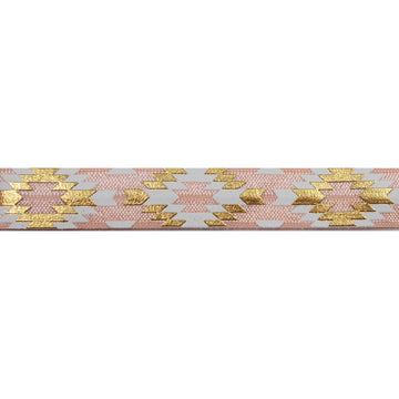"Light Peach & Gold Southwestern Aztec - 5/8"" Metallic Printed Fold Over Elastic"