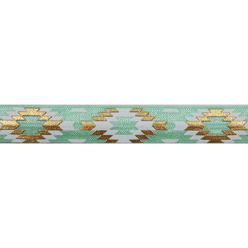 "Mint Green & Gold Southwestern Aztec - 5/8"" Metallic Printed Fold Over Elastic"