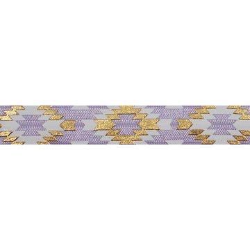 "Lavender & Gold Southwestern Aztec - 5/8"" Metallic Printed Fold Over Elastic"