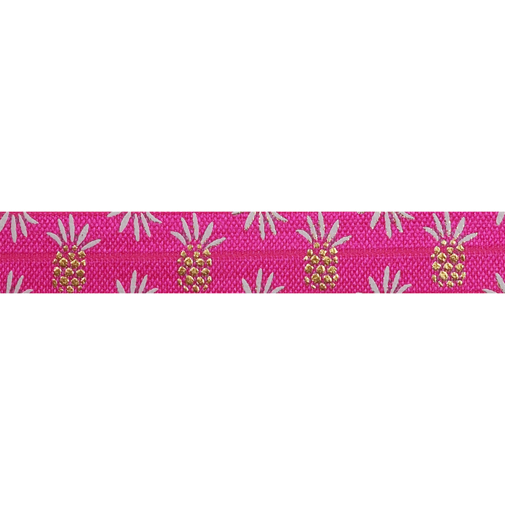 "Hot Pink & Gold Pineapples - 5/8"" Metallic Printed Fold Over Elastic"
