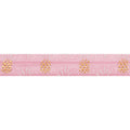 "Ballerina Pink & Pineapples - 5/8"" Metallic Printed Fold Over Elastic"
