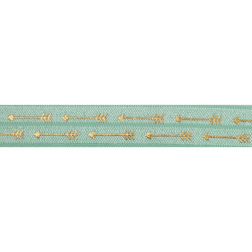 "Mint Green & Gold Straight Arrows - 5/8"" Metallic Printed Fold Over Elastic"