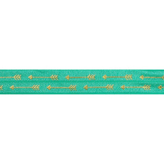 "Aquamarine & Gold Straight Arrows - 5/8"" Metallic Printed Fold Over Elastic"