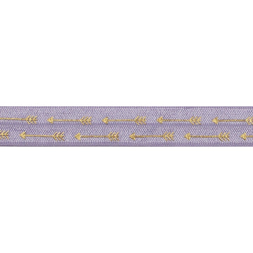 "Lavender & Gold Straight Arrows - 5/8"" Metallic Printed Fold Over Elastic"