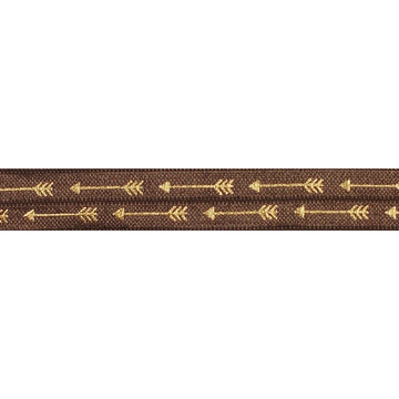 "Brown & Gold Straight Arrows - 5/8"" Metallic Printed Fold Over Elastic"