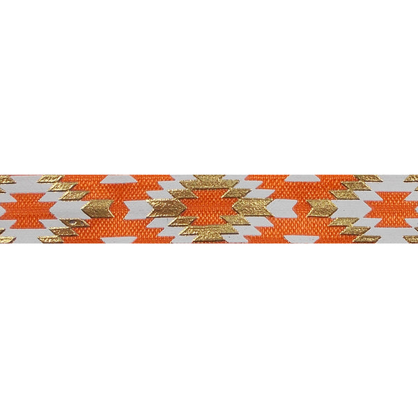 "Orange & Gold Southwestern Aztec - 5/8"" Metallic Printed Fold Over Elastic"