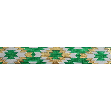 "Green & Gold Southwestern Aztec - 5/8"" Metallic Printed Fold Over Elastic"